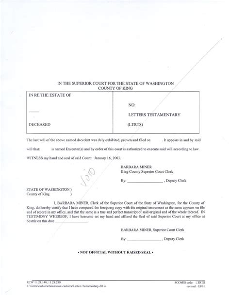 Probate Clerk Cover Letter by Letters Of Testamentary Free Bike