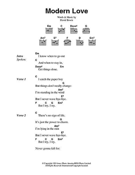 modern love modern love sheet music by david bowie lyrics chords