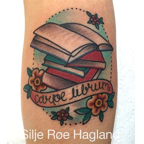 sweet little traditional book tattoo silje roe hagland