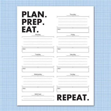 Weekly Meal Planner Download Plan Prep Eat Repeat Weekly Meal Planner Planners And Meals Meal Prep Template