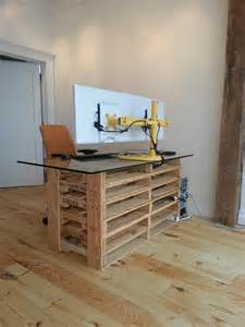 Diy Desk Drawer Pallet Desk With Drawers And Shelves Diy Pallet Reception Desk Diy Mesas E Bancadas De