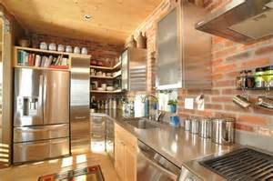 nice Brick Wallpaper Living Room Ideas #6: wall-exposed-kitchen-panelling-as-brick-backsplash-in-country-style-modern-kitchen-decors_via_karfid.jpg