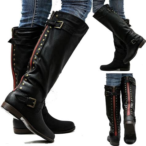 womans black boots new gja1 16 in wider calf zipper black studded