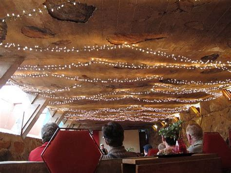 a simple afloat string lights as ceiling lights