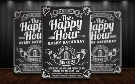 happy hour sign template happy hour chalkboard flyer by matteogianfreda94 on deviantart
