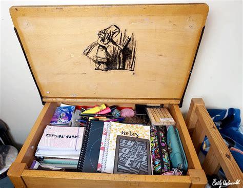 inside my vintage school desk emily underworld