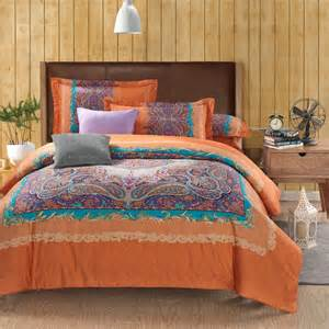 King Size Bed Blanket Set Wholesale Classic Paisley Orange King Size Bed Lines