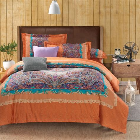 bed sheets set wholesale classic paisley orange queen king size bed lines