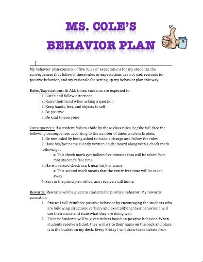 classroom behavior management plan template h4 ms cole
