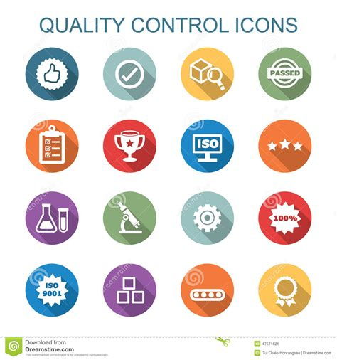 icon design quality quality control long shadow icons stock vector image