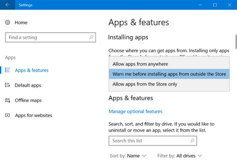 install windows 10 store prevent installing apps from outside windows store in