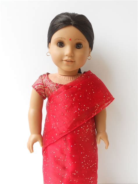 design a doll india red indian sari for american girl dolls