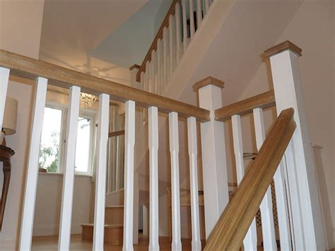 Restaining Banister Rail by Gun Stock Flooring Staircase Stairs Stair Treads And Oak Stairs