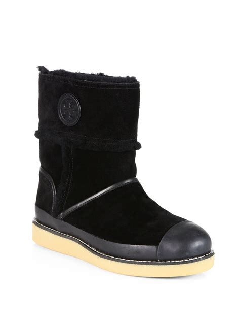 burch black boots burch nadine shearlinglined leather midcalf boots in