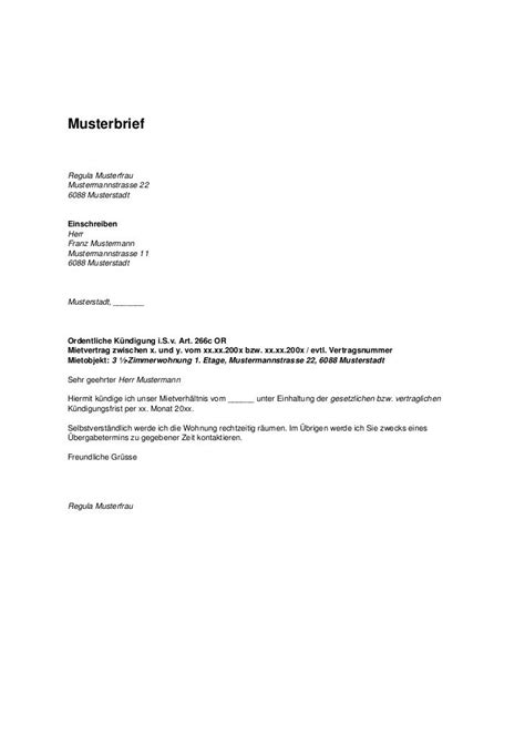 Arbeit Brief Beispiel wohnungsk 252 ndigung vorlage kostenlos k 252 ndigung vorlage