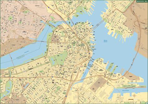 boston map pdf boston downtown map digital vector creative
