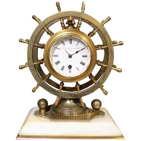 novelty nautical revolving ships wheel desk clock or