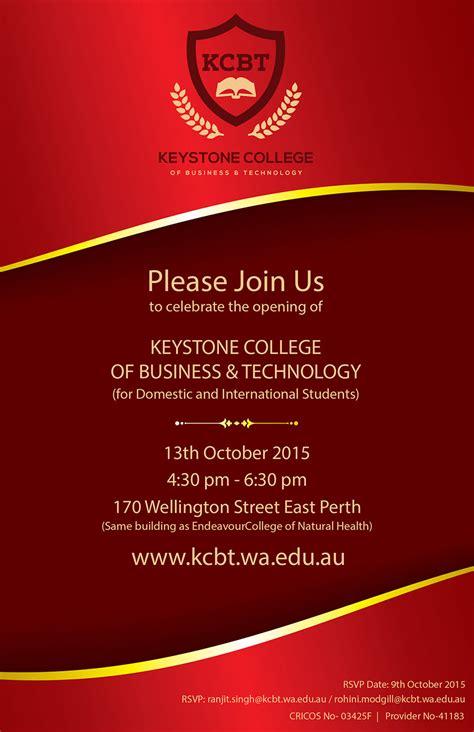 Designing Home keystone college perth inauguration card design be still