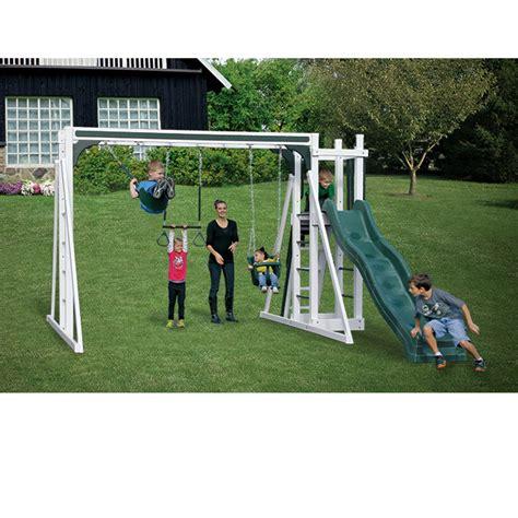 no maintenance swing set swing kingdom vinyl swing sets and outdoor playsets at