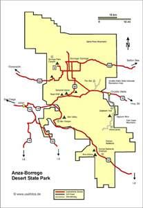 Anza Borrego State Park Map by Anza Borrego Karte Anza Borrego Landkarte Anza Borrego