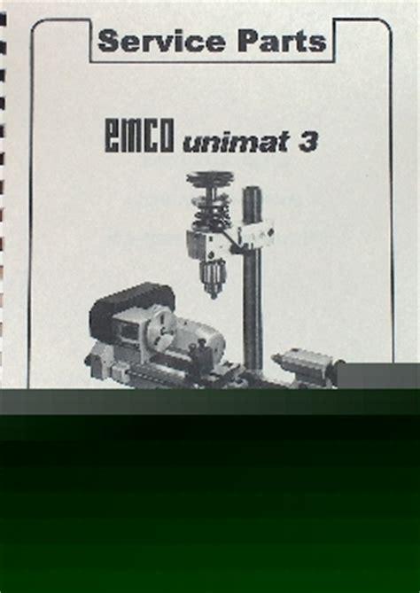 Oz Emco Unimat 3 Milling Lathe Parts Manual