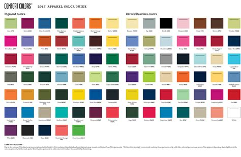 color of 2017 custom apparel color chart cus collection inc