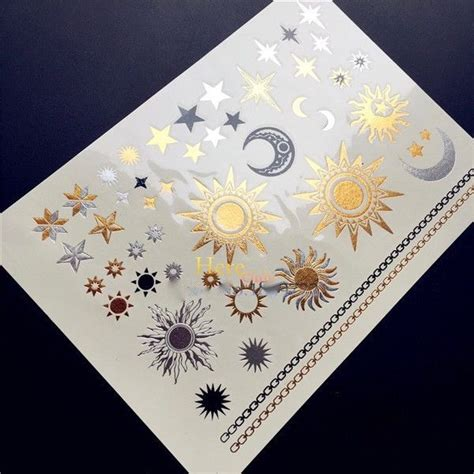 temporary tattoos jewelry sun moon and design flash jewelry gold silver