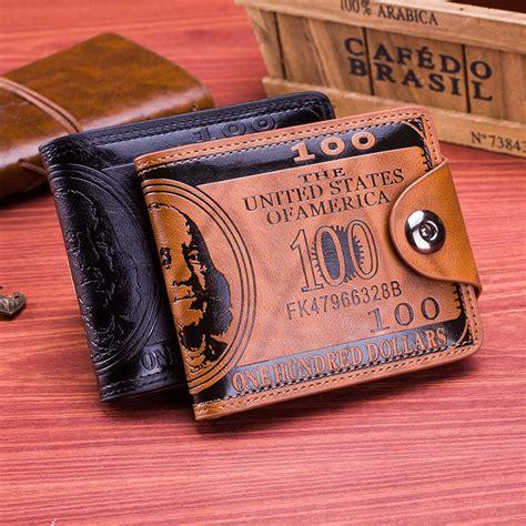 new us dollar bill wallet brown pu leather bifold