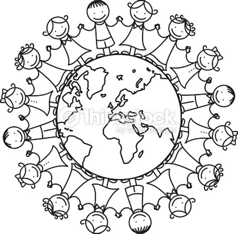 coloring pages for unity happy children around the world illustration vector art