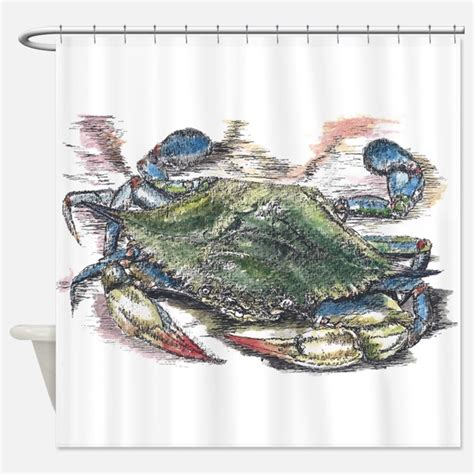 Blue Crab Shower Curtains Blue Crab Fabric Shower