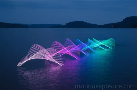 led light photography the motions of kayaking and canoeing recorded through