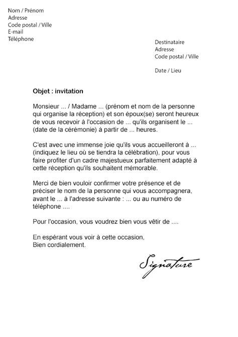 Exemple De Lettre D Invitation Des Syndicats lettre d invitation c 233 r 233 monie mod 232 le de lettre