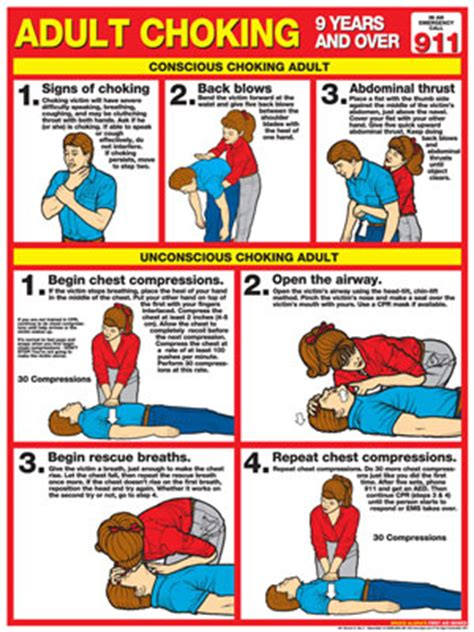 printable choking instructions choking chart adult laminated