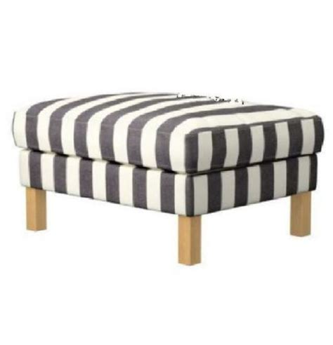 black and white striped ottoman ikea karlstad footstool ottoman slipcover cover rannebo