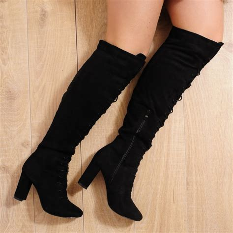 black faux suede lace up the knee high heel boots