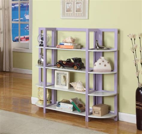 cheap purple white finish wood foldable 4 tier shelves