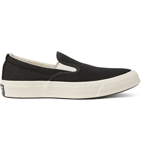 Sepatu Adidas Slip On Canvas Casual lyst converse deck 67 canvas slip on sneakers in black for