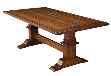 chesterton plank top trestle dining table