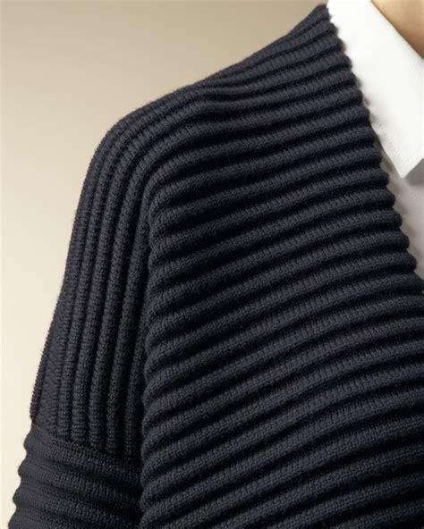 ottoman knitted jaeger wool ottoman rib knit jacket in blue navy lyst