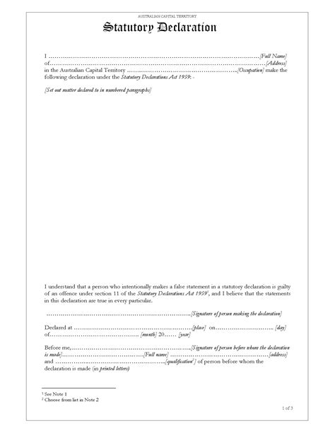 act statutory declaration legal forms and business