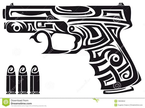tribal gun tattoos tribal gun stock illustration illustration of creative