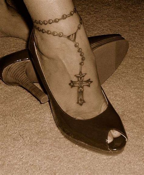 cross tattoos for women on foot 26 amazing cross ankle bracelet tattoos