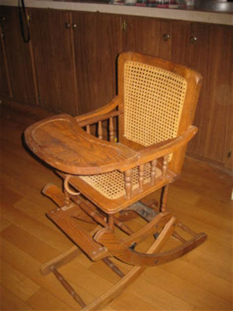 antique high chair rocking chair combination wood