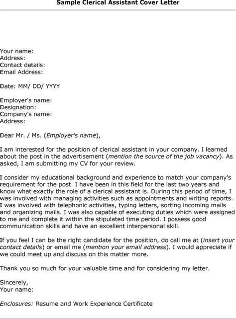 clerical cover letter exles clerical cover letter sle the best letter sle