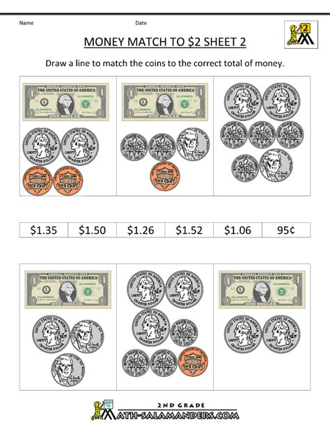 Money Worksheets For Grade by 2nd Grade Money Worksheets Up To 2
