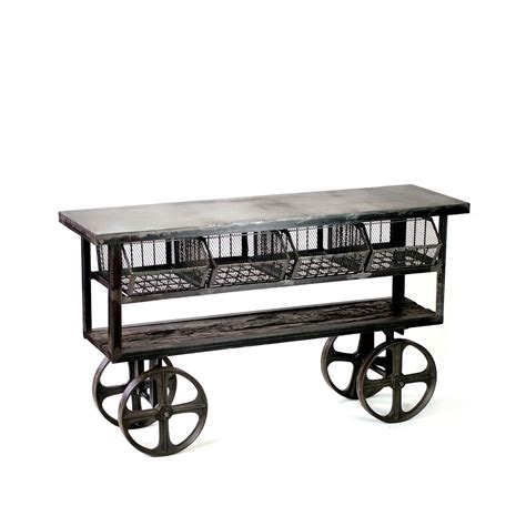 industrial style console table fillmore industrial style rolling console table crash