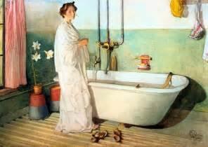 lisbeth prepares a bath watercolour by carl larsson 1853