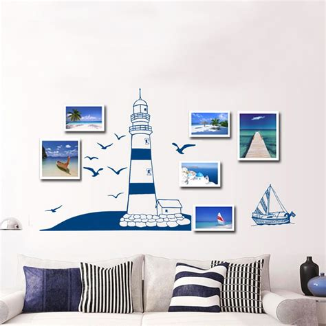 seaside wall stickers removable child home decals lighthouse at the