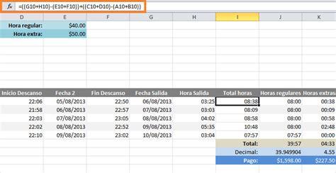 como calcular a hora extra de frentista de posto calcular horas extras en excel excel total