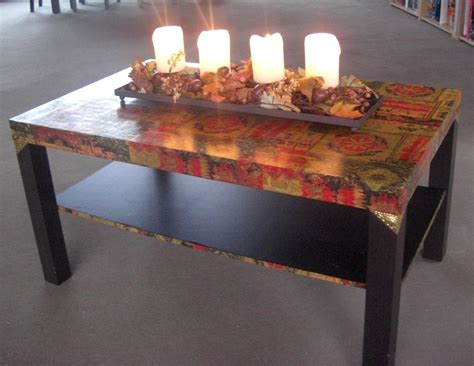 Decoupage Dining Room Table - decoupage from ikea hackers i like the and gold in